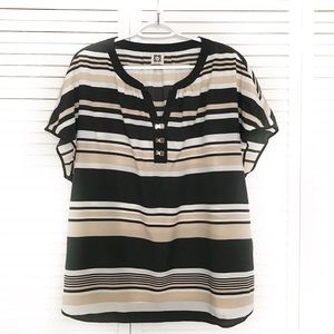 Anne Klein strip short sleeve blouse |Size XL